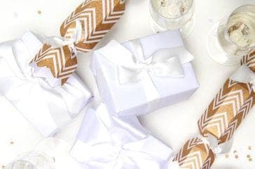 christmas party venue boxes with ribbon
