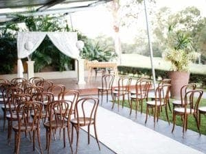 wedding venue with a ceremony outdoors