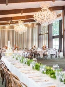wedding venue with a long table