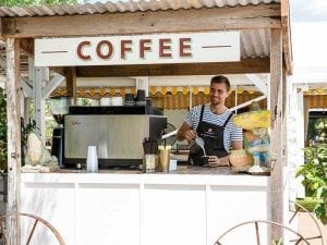 Bistro cart serving coffee