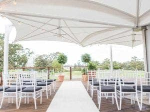 wedding venue with a ceremony on deck