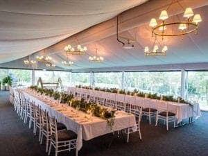 wedding venue with long tables