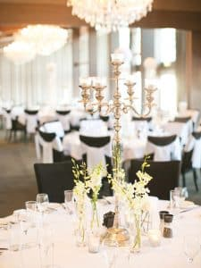 wedding venue styling in the ballroom