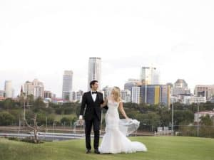 wedding photos with city view