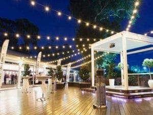 marquee with festoon lights venue