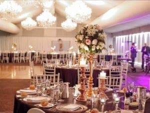 wedding venue with pink lighting